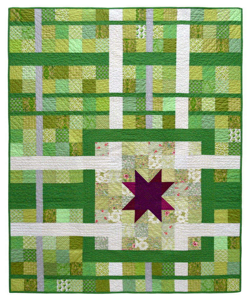 green wombat finished quilts tag quilt detail pink triangle